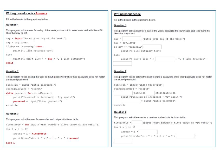 Pseudocode algorithms worksheet - Fill in the blanks - Ideal lesson starter, plenary or homework