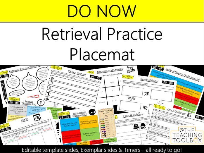 Do Now Retrieval Practice - Retrieval Practice Placemat