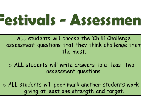 KS3 assessment on 'festivals' including planning sheets, leveled questions and success criteria