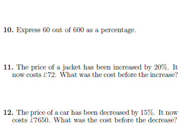 8 GCSE/IGCSE worksheets on percentages,  indices and factorisation (with solutions)