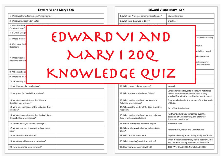 Edward VI and Mary I Rebellions Quiz