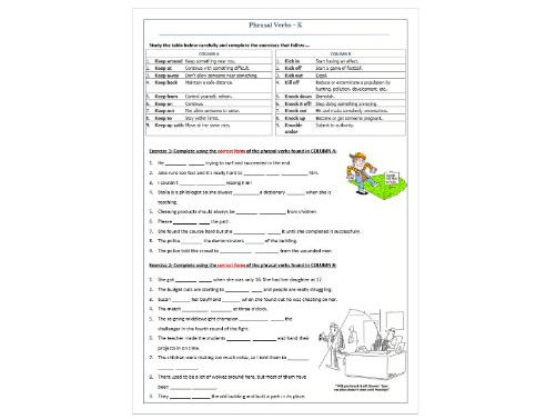 Phrasal Verbs Beginning with K: Revision Worksheet