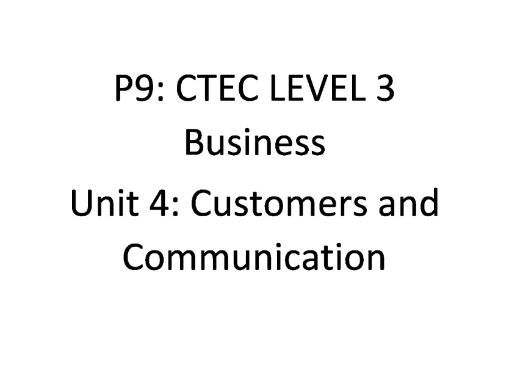 CTEC Level 3 Business: Unit 4 Task 3 P9