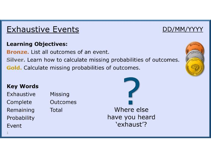 Probability 04/13 Exhaustive Events