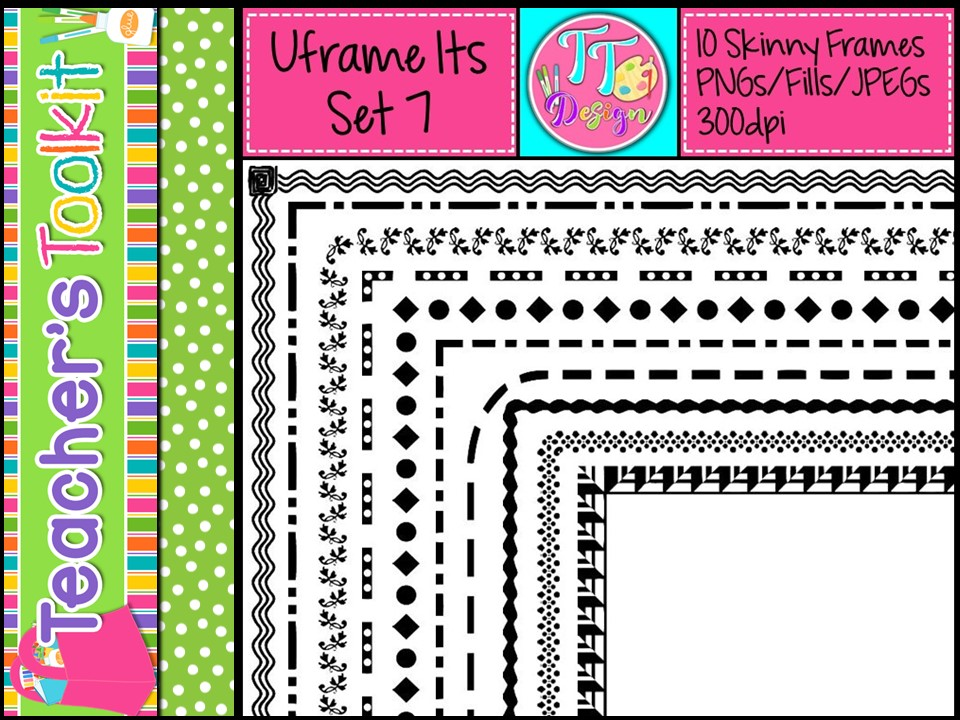 'UFrame Its' Set 7 Skinny Worksheet Frames Borders Clip Art CU OK