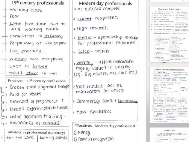 New Alevel physical education revision - Sport and society, handwritten summary sheets complete