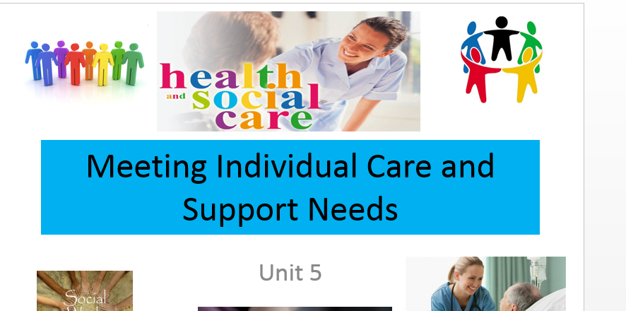 Health & Social Care Unit 5 (New Spec) Meeting Individual Needs P3 M3 D2 Help Sheet