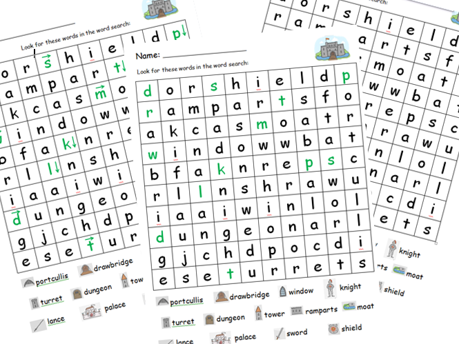 Castle - differentiated wordsearch (features of a castle)