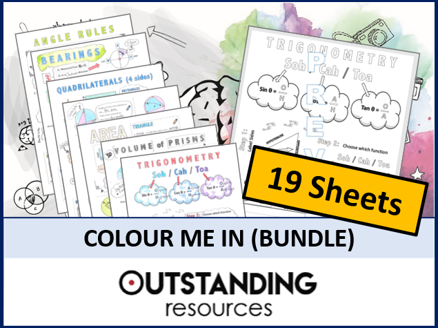 Colour Me in Sheets or Doodle Notes BUNDLE (19 Sheets)