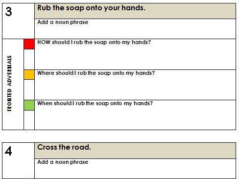Fronted adverbials and expanded noun phrases