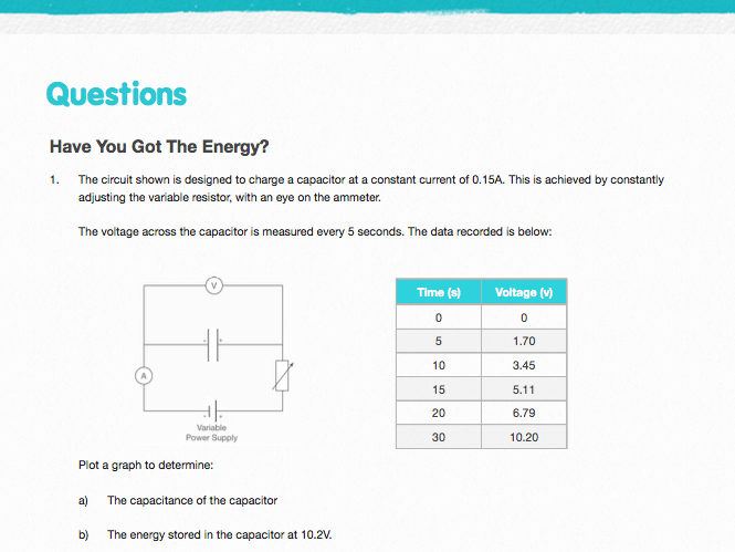 Energy in Capacitors - Questions and Worked Solutions