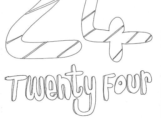 Twenty Four: Numbers: Colouring Page
