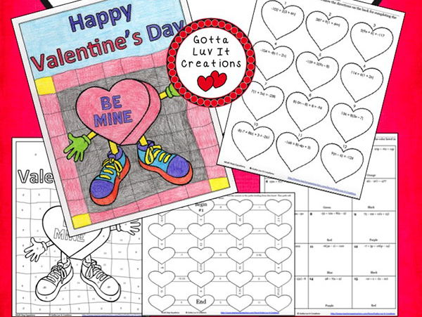 Solving Equations Valentine's Day Math Multi Step Equations Maze & Color by Answer Activity Set