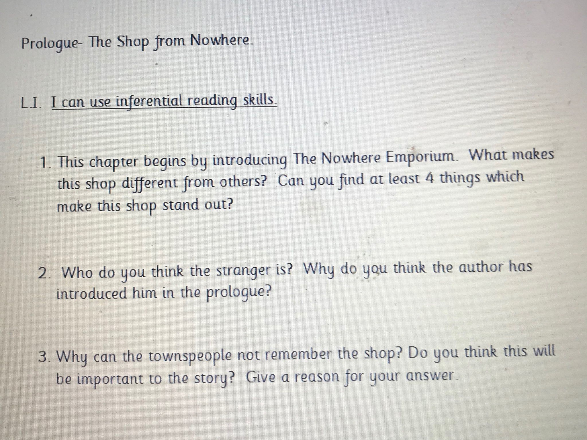 Nowhere emporium 1 weeks guided reading planning year 4/5