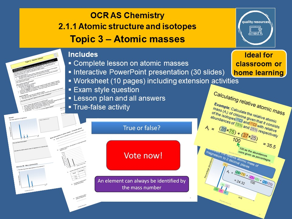 Atomic Masses OCR AS Chemistry