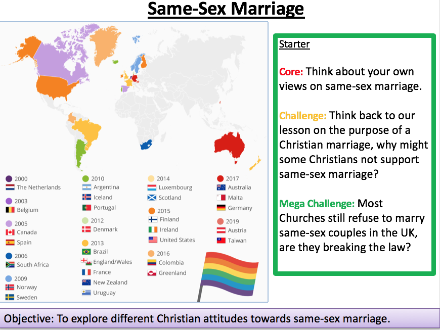 Same Sex Marriage Religious Studies OCR GCSE lesson for Paper 2 Ethics from a Christian Perspective