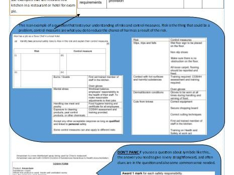 WJEC Level 1/2 Hosp and Catering Award exam revision criteria, tasks and past questions LO3