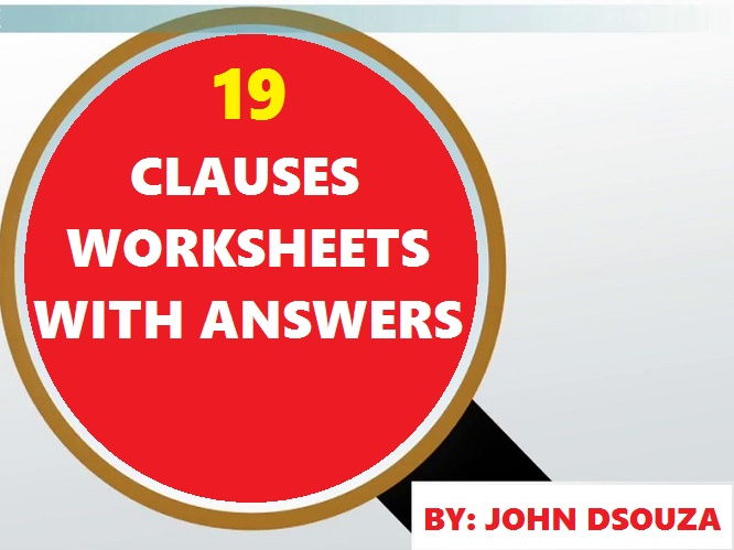 CLAUSES WORKSHEETS WITH ANSWERS