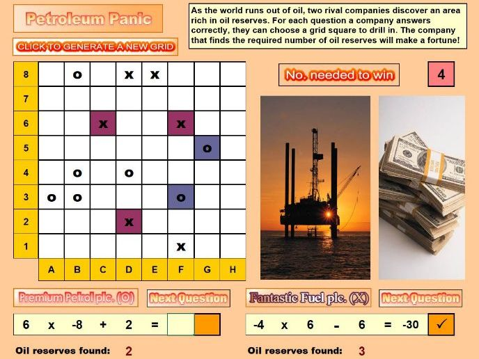Petroleum Panic Negative Number Activity and Game
