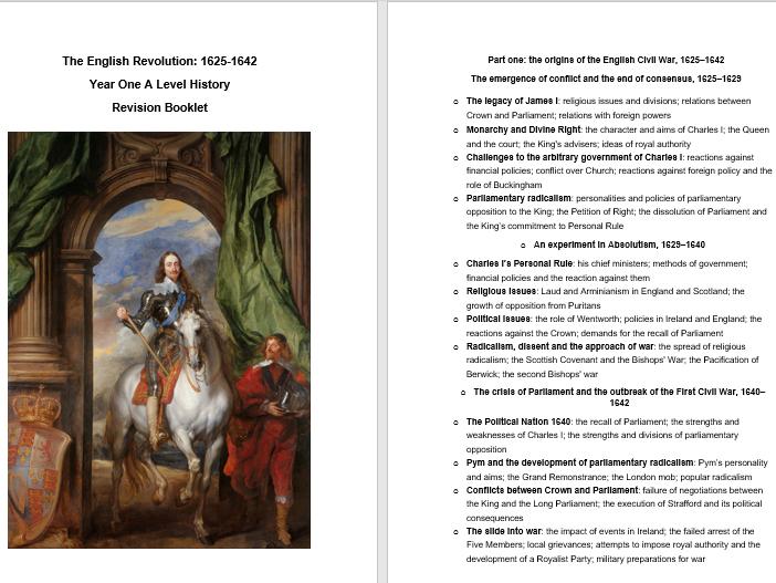 2E English Revolution Revision Booklets