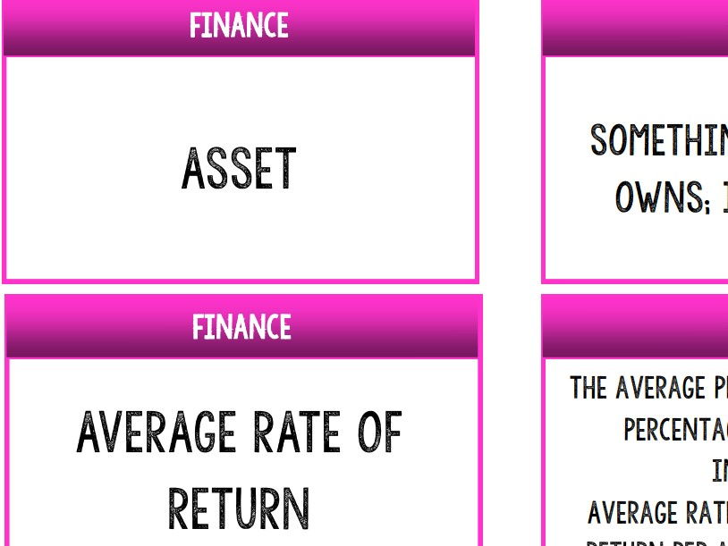 AQA GCSE Business (9-1) 3.6 Finance Keywords Match-up Activity / Wall Display