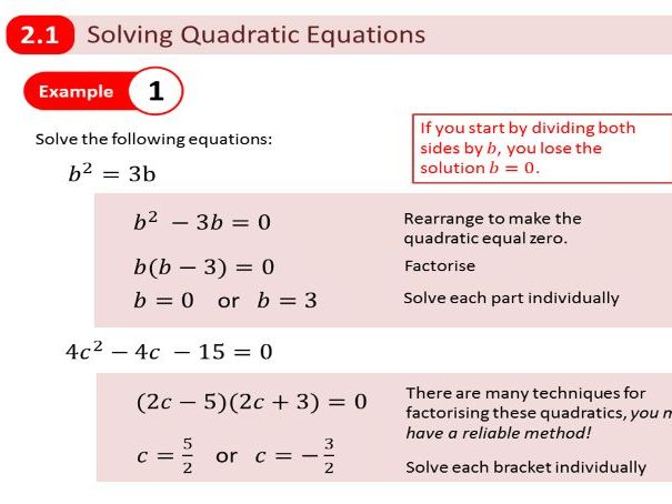 New Edexcel A Level Year 1 - Chapter 2 Quadratics