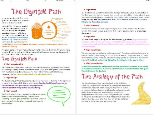 Buddhism: Eightfold Path: Differentiated Activity and Information Sheets