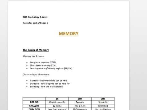 A* MEMORY Revision Notes - Psychology A-Level - Paper 1 AQA