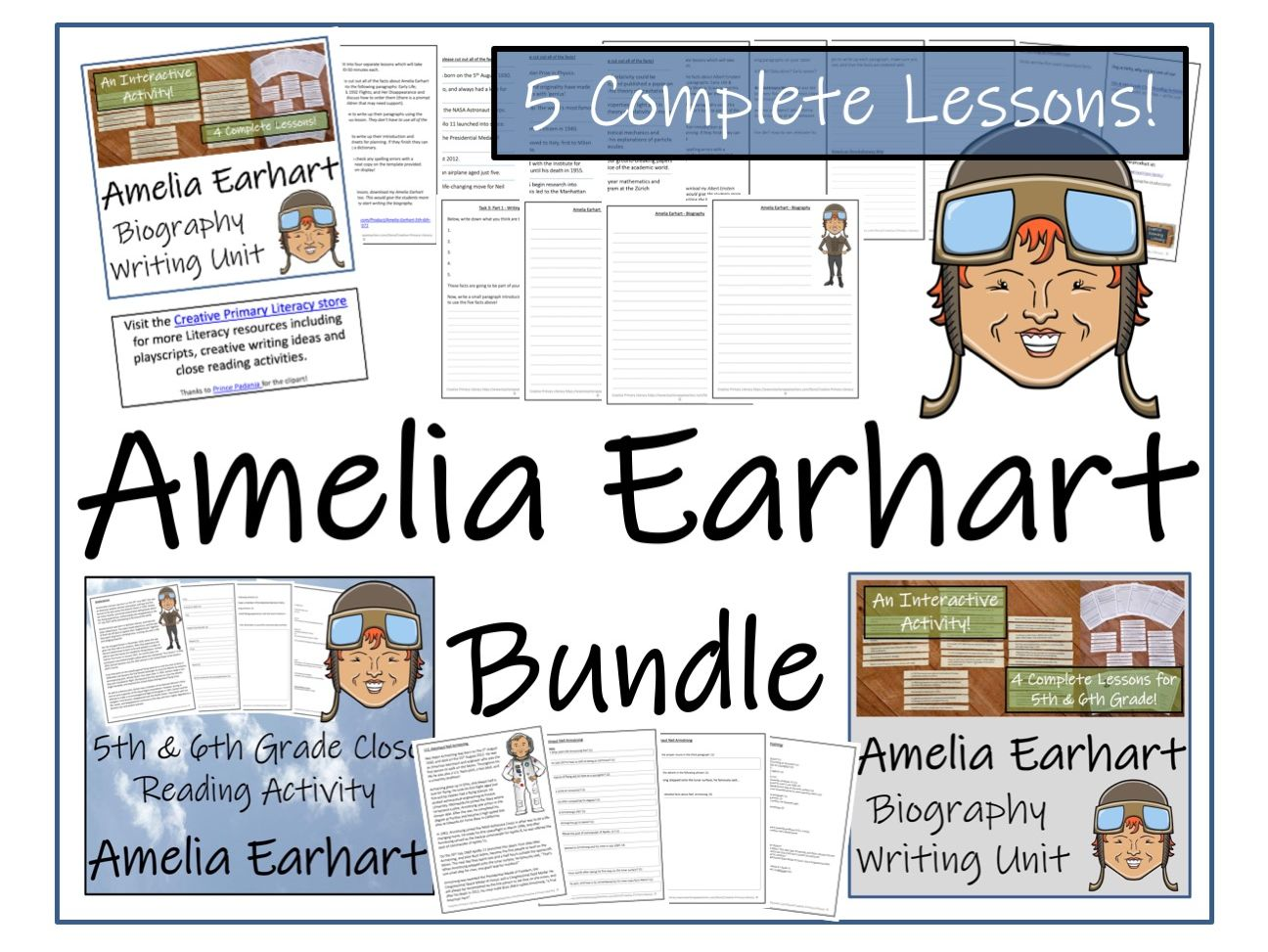 UKS2 History - Amelia Earhart Reading Comprehension & Biography Bundle