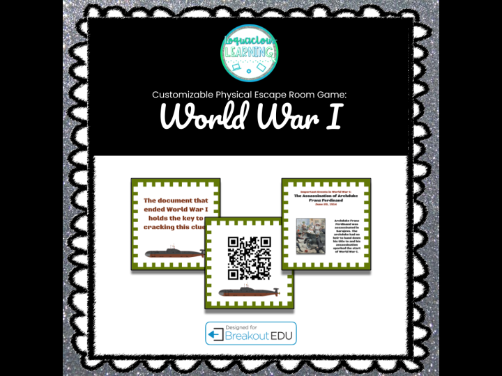 World War I Customizable Escape Room/Breakout Game w/Digital Lesson (US)