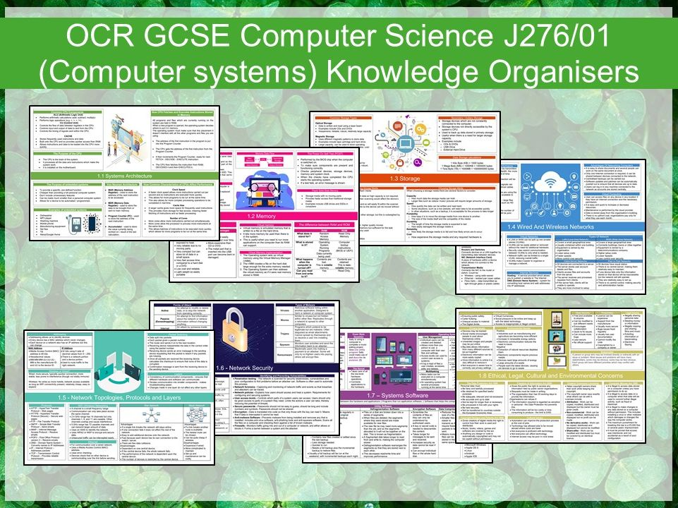 OCR GCSE Computer Science J276/01 (Computer systems) Knowledge Organisers