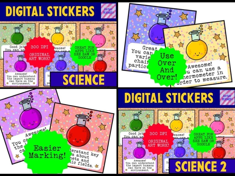 Mini Bundle Digital Reward Virtual Teacher Stickers Star - Science - Marking