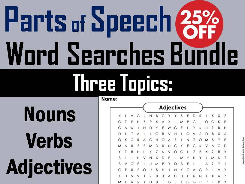 Parts of Speech: Verbs, Nouns and Adjectives Word Search Bundle