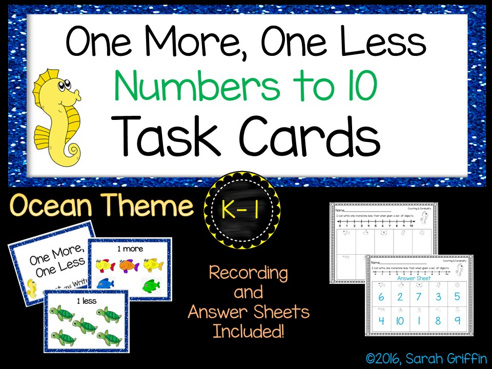 Math Task Cards - One More, One Less - Ocean Theme SCOOT