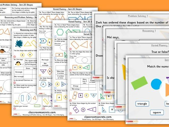 Year 2 Sort 2D Shapes Spring Block 3 Step 6 Lesson Pack