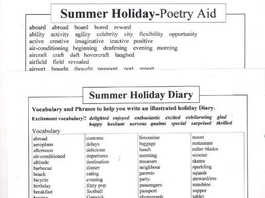 Summer Holiday Diary and Poetry Aid