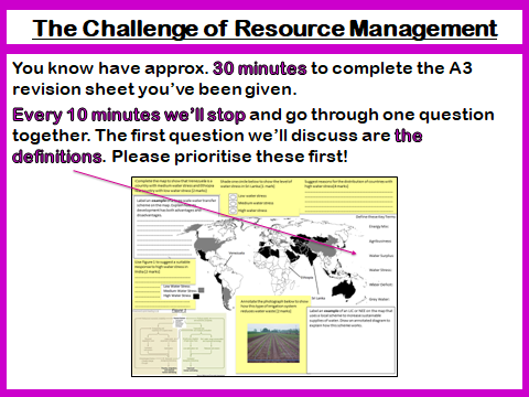 Challenge of Resource Management AQA 9-1 Revision Lesson Geography