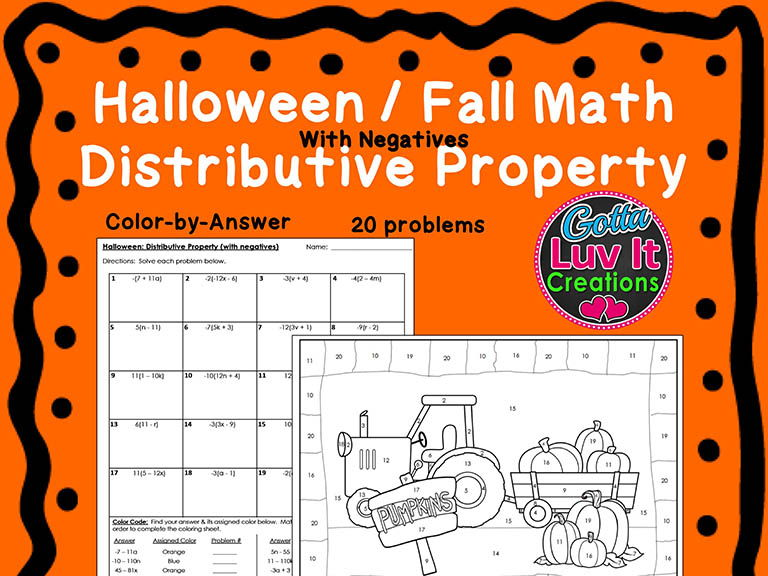 Halloween Fall Distributive Property (Negs) Bundle Maze & Color by Number Coloring Page