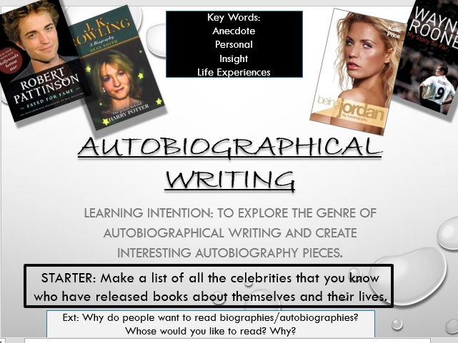Autobiographical Writing powerpoint lesson