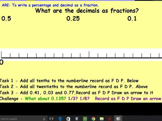 Fractions, Decimals and Percentages Resource and Lesson Pack x 3