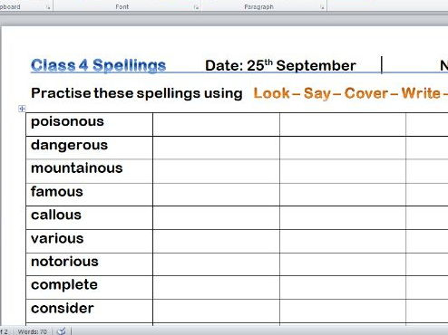 Homework Spelling lists and activities for mixed Year 4 / 5 class