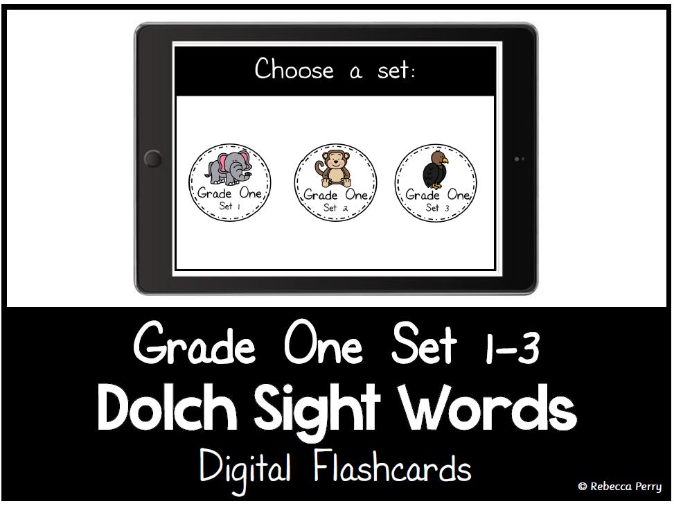 Dolch Sight Words - Digital Flashcards - Grade One Set 1-3