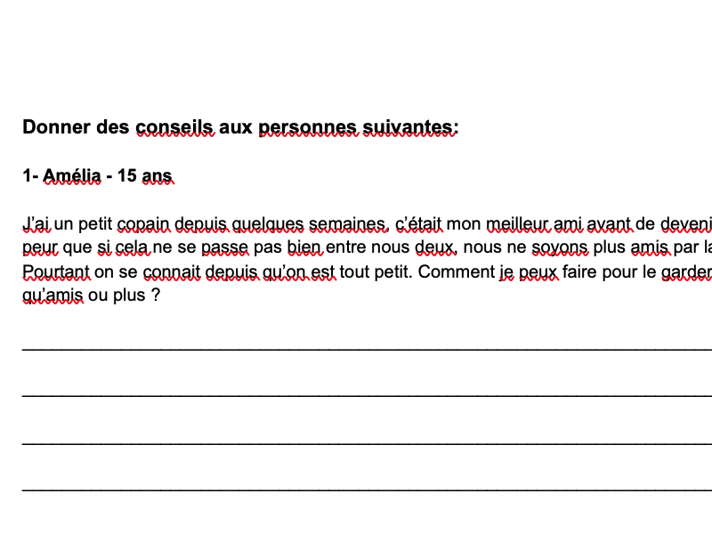 Love Life Advices French Year 10