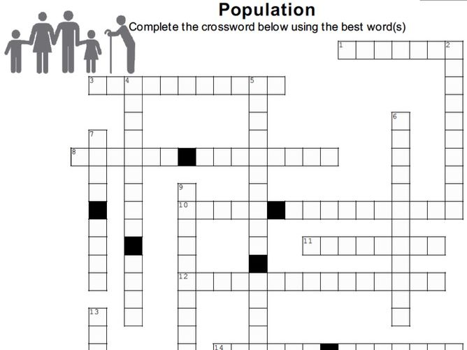 POPULATION Crossword Puzzle w/ answer key (version 2) (Cambridge A-level)