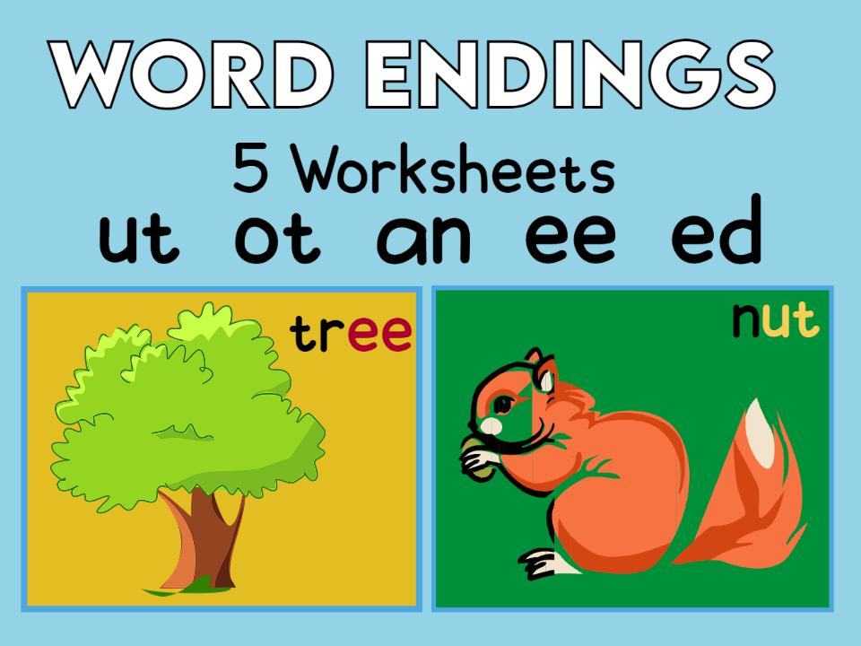 5 Word Endings Worksheets ut  ot  an  ee  ed