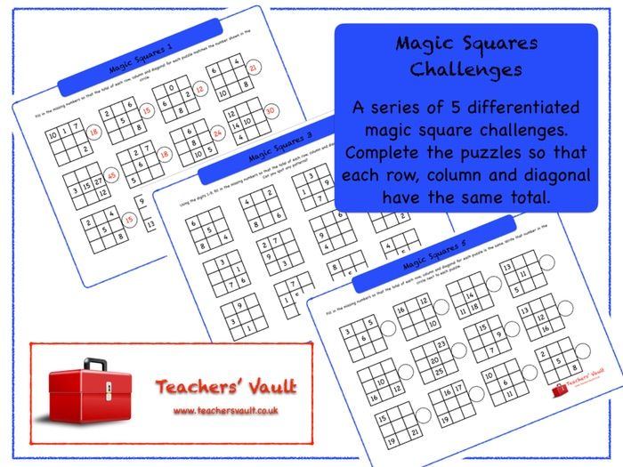 MAGIC SQUARES - SET E - KINGS and QUEENS-(Complete 4X4 magic