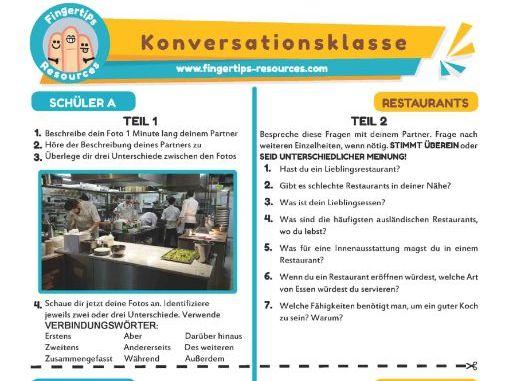 Restaurants - German Speaking Activity