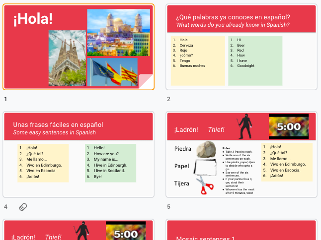 Spanish first lesson of the year activities