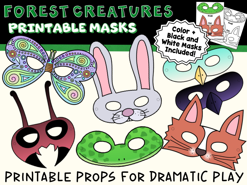 Forest Creatures Printable Animal & Insect Masks for Dramatic Play,  Color + B&W Forest Creatures P