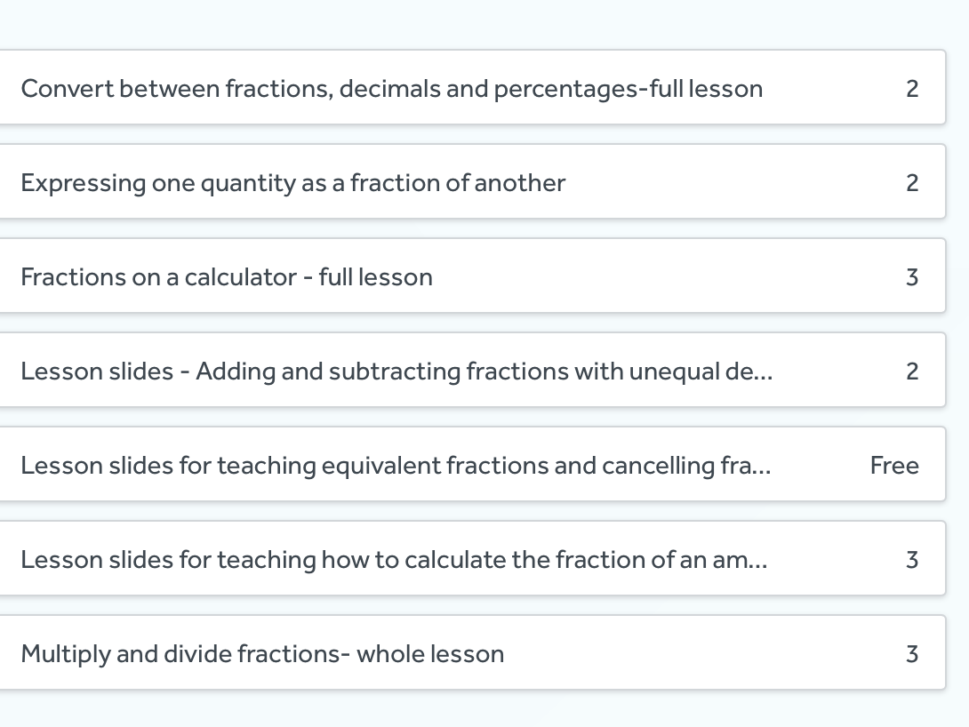 Fractions-complete pack of 7 lessons